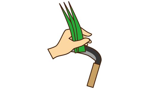 169草刈りをする手のイラスト